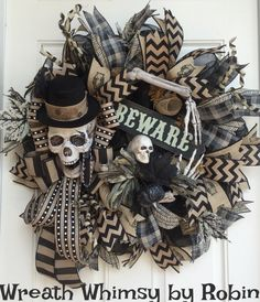 Primitive Halloween Skeleton Black & Tan Deco Mesh Wreath, Skeleton Decor, Fall Wreath, Halloween Decor, XL Rustic Skeleton Wreath by WreathWhimsybyRobin on Etsy https://www.etsy.com/listing/468423852/primitive-halloween-skeleton-black-tan