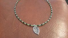 Necklace  beaded jewelry light green black  beads leaf by buybling