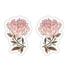 """""""peonies - sticker"""" Stickers by days-e Tumblr Stickers, Anime Stickers, Kawaii Stickers, Cute Stickers, Pink Flower Bouquet, Pink Flowers, Exotic Flowers, Yellow Roses, Pink Roses"""