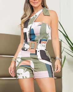 One Shoulder Knotted Detail Abstract Print Playsuit Romper – TopFashionova Rompers Women, Jumpsuits For Women, Trend Fashion, Fashion Outfits, Bohemian Fashion, Curvy Fashion, Fashion Fashion, Retro Fashion, Fashion Ideas
