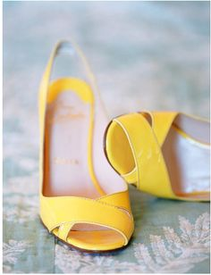 Bright Yellow Peep-toe, Sling Back, Wedding Day Heels Yellow Wedding Shoes, Yellow Heels, Wedding Photo Gallery, Yellow Fashion, Summer Shoes, Spring Shoes, On Your Wedding Day, Dream Wedding, Shoe Boots