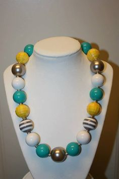 """20"""" Bubble Gum Bead Necklace- Silver, Teal, Yellow and White"""