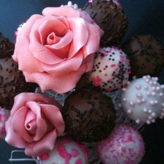 Birthday Bouquet of CakePOPs Roses are made petal by petal, from chocolate clay I make, that surround a cakeball in the middle.