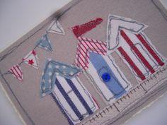 Beach Hut Handmade Machine Embroidered Card by SewSweetbySuzanne, £4.95