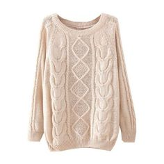 Beige Long Sleeve Diamond Patterned Knit Sweater (€19) ❤ liked on Polyvore featuring tops, sweaters, sheinside, - tops, beige, beige knit sweater, long sleeve knit tops, long sleeve knit sweater, pink long sleeve top and long sleeve sweaters