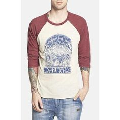 Men's Obey 'Peace Horse' Graphic Baseball T-Shirt, Size Small - Red #shirt #offduty #men #covetme