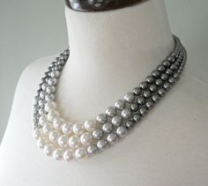 Color Block Triple Decker Necklace  in Gray by DemoiselleDesigns, $78.00