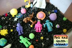 Outer Space Themed Sensory Box ~so cool looking and you could up the coolness with a black light!