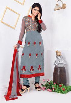 Gray #Chanderi #Kameez With #Churidar #Salwar #nikvik  #usa  #australia  #pakistanisuit #wedding #canada #wedding