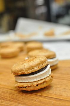 S'more Macaroons! Graham Cracker Macaroon Shells...Homemade Marshmallows (possibly toasted) and Melted Chocolate!