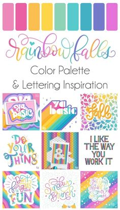 Grab the free color palette, check out the lettering pieces I created and make some of your own! Grab the free color palette, check out the lettering pieces I created and make some of your own! Rainbow Falls, Rainbow Art, Rainbow Colors, Rainbow Food, Lettering Styles, Hand Lettering, Skandinavisch Modern, Dawn Nicole, Fall Color Palette
