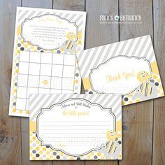 Elephant Baby Shower Set /  Yellow and Grey Shower Items / Printable Digital DIY Invitation, Item 92556