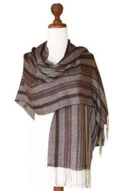 Alpaca and silk shawl, 'Coffee Plantation' NOVICA. $79.95