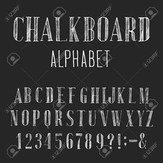 Illustration of Chalkboard Alphabet Vector Font. Type letters numbers and punctuation marks. Distressed chalk vector serif font on the dark background. vector art, clipart and stock vectors. Chalkboard Lettering Alphabet, Chalkboard Numbers, Chalkboard Writing, Chalkboard Fonts, Chalkboard Designs, Sign Writing, Blackboard Art, Vintage Chalkboard, Chalkboard Drawings