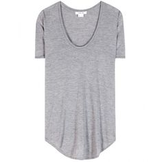 Helmut Lang Jersey T-Shirt (€93) ❤ liked on Polyvore featuring tops, t-shirts, shirts, tees, grey, gray shirt, grey tee, jersey top, grey t shirt and jersey t shirts