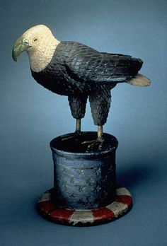 Maker unknown, Eagle on Uncle Sam's Hat, c. 1870, carved polychromed wood, found in Pittsburgh, Pennsylvania where it was used as a sign outside a veterans' boarding house. Collection of Shelburne Museum.