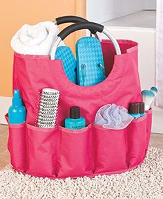 4c5de186764e The gripped aluminum handles of the Multi-Pocket Laundry Bath Tote gives a  sturdy hold on laundry or shower accessories. The durable canvas bag  features a ...