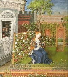 Lady sewing in her garden