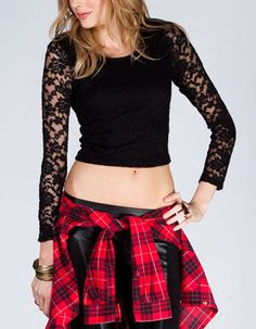 Womens Lace Overlay Crop Top -