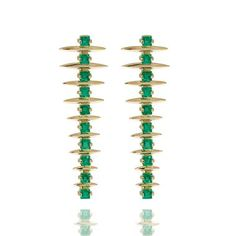 Carla Amorim emerald Fern earrings in yellow gold
