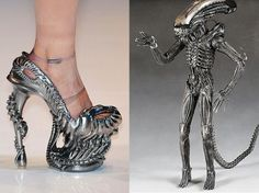 These never-released Alexander McQueen heels were inspired by HR Giger and the Alien franchise. They look a impractical, uncomfortable, and properly biomorphic. Alien-Inspired High-Heels [Pic] (via Geekologie) Fashion Fail, Look Fashion, Fashion Shoes, Fashion News, Weird Fashion, Fashion Design, Giger Alien, Hr Giger, Giger Art