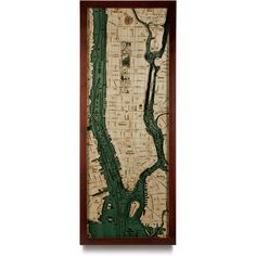 wooden map of manhattan