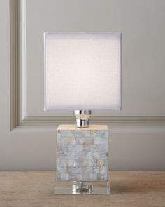 Just the right size! Mother-of-Pearl Mini Cube Lamp at Neiman Marcus.
