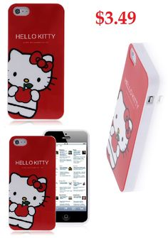 Hello Kitty iPhone 5 Case Protective Red Hard Cover Case #hello #kitty #iphone5 #cheap #case #cool #phone #accessories $3.49