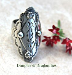Saddle Ring - Sterling Silver Hand Forged Wide Band - Silver Cuff Ring - Armor Ring - Shield Ring - Dimples Dragonflies