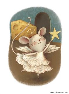 Angel Mouse by Jennifer Bell Maus Illustration, Diy Xmas, Drawn Art, Cute Mouse, Marjolein Bastin, Whimsical Art, Christmas Pictures, Beatrix Potter, Cute Drawings