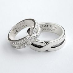Matching his and her rings can be personalized on the inside. They would be wonderful promise rings - it's hard to find matching promise or couple rings!