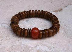 Carnelian Brown Shell Boho Rustic Earthy Woodland by MissieRabdau, $70.00