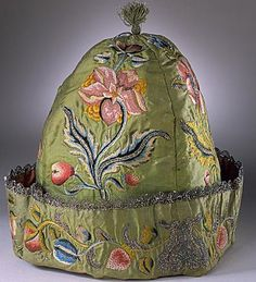 """Man's cap - beautiful embroidery.  The egg-headed Sir Gerald Cavendish wears one when """"at home"""". MIDNIGHT MARRIAGE"""