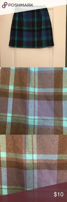 Plaid skirt from the Limited. Plaid skirt. Size 2. Great condition. Blue green. The Limited Skirts Mini