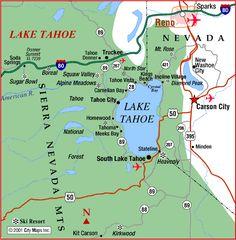 map of reno tahoe area   ... : Road Map of Lake Tahoe and Reno (South Lake Tahoe, California