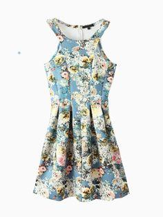 Floral Off Shoulder Zipper Back Skater Dress | Choies