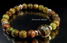 Tibetan  Agate-Czech Glass Yoga Stretch Bracelet #Handmade #Stretch