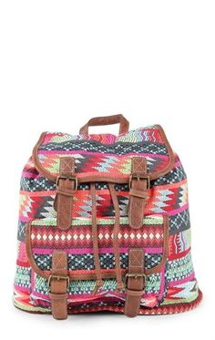 Deb Shops back pack with bright multi color tribal inspired print $19.50