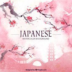 Japanische Aquarell Hintergrund japanische Aquarell Hintergrund mit Blüten Kostenlose Vektoren