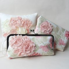Wedding Clutch pink floral evening bag shabby chic by PaperFlora