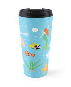 Ocean Life Travel Mug #mermaid #fish #starfish #clownfish #dolphins