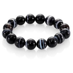 Nest Black Line Agate Beaded Stretch Bracelet (5.395 RUB) ❤ liked on Polyvore featuring jewelry, bracelets, apparel & accessories, black agate, black bangles, beaded bangles, nest jewelry, beaded jewelry and black agate jewelry