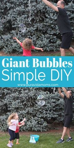 This giant bubble solution makes huge bubbles at home that kids will enjoy. An easy summer kid activity, first science experiment and family fun activity. Giant Bubble Solution, Bubble Solution Recipe, Outdoor Fun For Kids, Summer Fun For Kids, Rainy Day Activities, Summer Activities For Kids, Giant Bubbles, How To Speak Spanish, Raising Kids