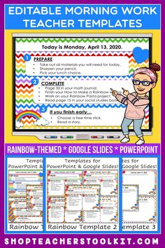 These rainbow-themed Editable PowerPoint and Google Slides Teacher Templates include space to type the day and date, reminders of what to do when entering the classroom, as well as 'must do' and 'may do' assignments. Remind your students of their morning assignments during arrival time by displaying them on your whiteboard or SMARTBoard. #teachertemplates #morningarrivalinstructions #editable #powerpoint #googleslides #funthemes #rainbows #spring