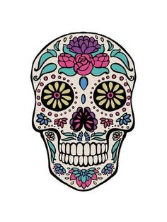 size: Art Print: Sugar Skull III on Gray by Janelle Penner : Grey Canvas Art, Grey Art, Canvas Size, Painting Prints, Wall Art Prints, Poster Prints, Canvas Prints, Paintings, Sugar Skull Painting