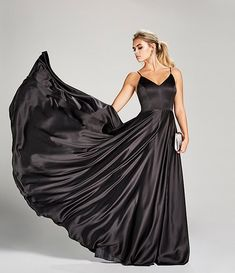 Darlin V-Neck Spaghetti Strap Side Slit Satin Ballgown Homecoming Queen, Dc Travel, Prom Dresses, Formal Dresses, Satin Fabric, Dillards, Pretty Dresses, Ball Gowns, Latest Trends