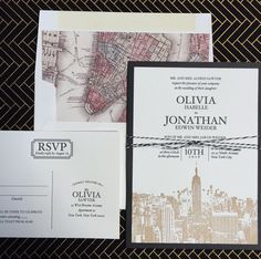 Cite Wedding Invitation Suite features a beautiful cityscape in letterpress with a map envelope liner is available at Staccato. www.weddinginvitationsbystaccato.com