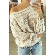 Stylish Skew Neck Long Sleeve Flower Embellished Solid Color Women's Sweater