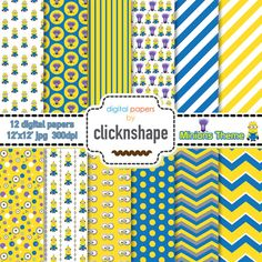 Minion digital paper. Minion Theme Digital Paper. Minion Party Despicable Me // Scrapbooking // Printable
