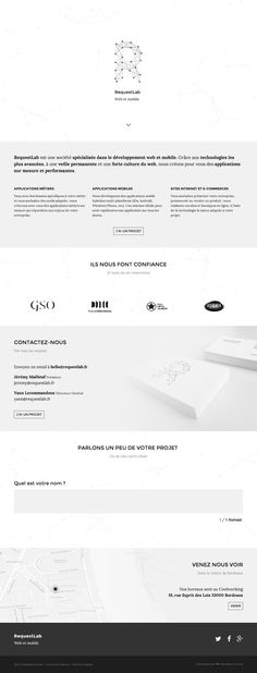 Response one pager for French digital agency, RequestLab. These molecule backgrounds really are a web design trend at the moment. Seen this new kind of contact form too where users fill in their info one field at a time - it's slick but wonder how it converts compared to the traditional layout.
